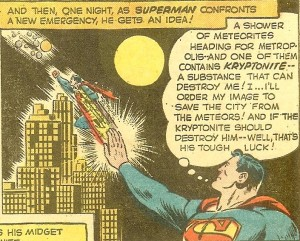 Superman shooting a mini-him out of his fingertips.