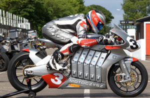 Mark Miller on an electric racing motorcycle.