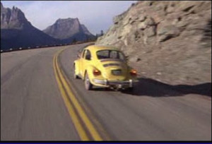 Above: The Torrance family drives up to the hotel in a yellow VW bug. Take that, Stephen King!